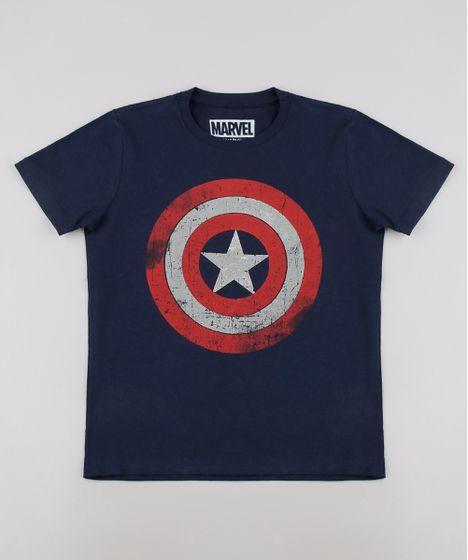 cf4a59527d0572 Camiseta Infantil Capitão América Tal pai Tal Filho Manga Curta Azul Marinho