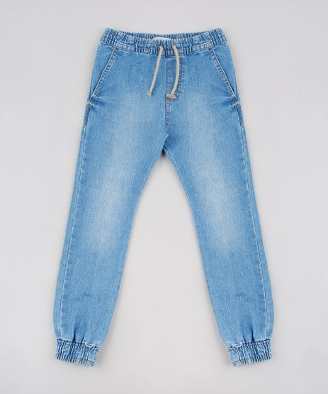 Calca-Jeans-Infantil-Jogger-com-Bolsos-Azul-Medio-9636925-Azul_Medio_1