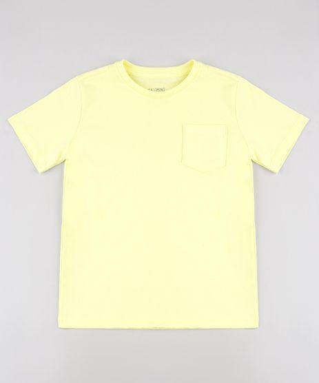 Camiseta-Infantil-com-Bolso-Manga-Curta--Amarela-9567186-Amarelo_1