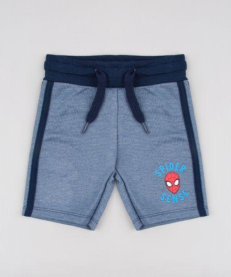 Bermuda-Infantil-Homem-Aranha-em-Moletom-com-Faixa-Lateral-Azul-9618721-Azul_1