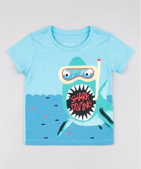6c21e9bc416164 Camiseta Infantil Tubarão Manga Curta Azul Claro