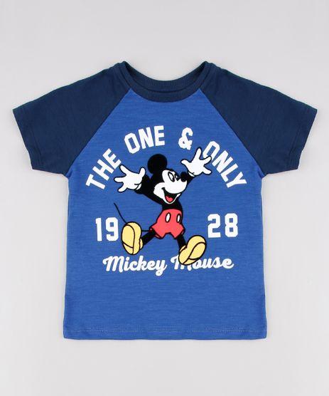 Camiseta-Infantil-Mickey-Raglan-Manga-Curta--Azul-9629779-Azul_1