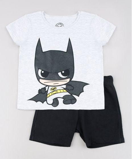 Conjunto-Infantil-Batman-de-Camiseta-Manga-Curta-Cinza-Mescla-Claro---Bermuda-em-Moletom-Preta-9629780-Preto_1