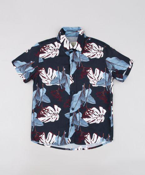 Camisa-Infantil-Tal-Pai-Tal-Filho-Estampada-de-Folhagem-Manga-Curta-Azul-Marinho-9676506-Azul_Marinho_1
