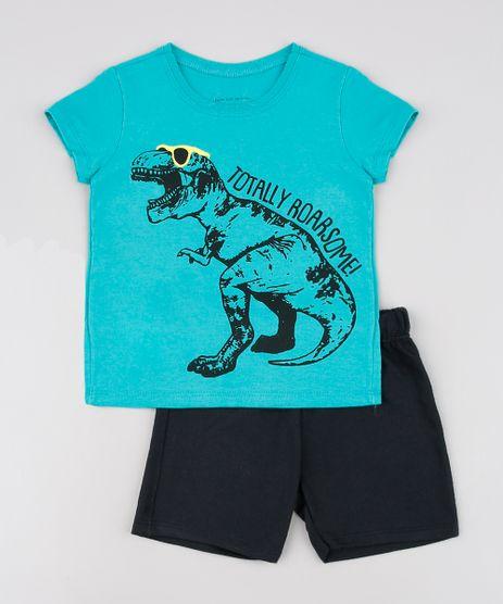 Conjunto-Infantil-Dinossauro-de-Camiseta-Manga-Curta-Verde---Bermuda-em-Moletom-Preta-9629798-Preto_1