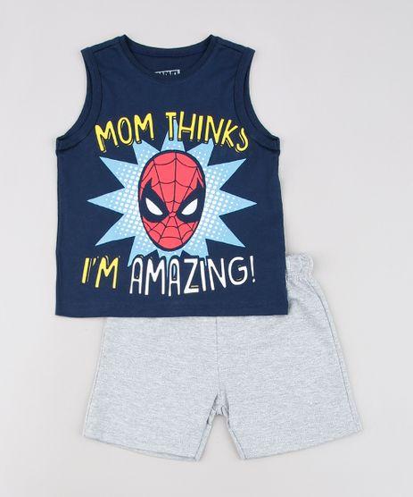 Conjunto-Infantil-Homem-Aranha-de-Regata-Azul-Marinho---Bermuda-em-Moletom-Cinza-Mescla-9629762-Cinza_Mescla_1
