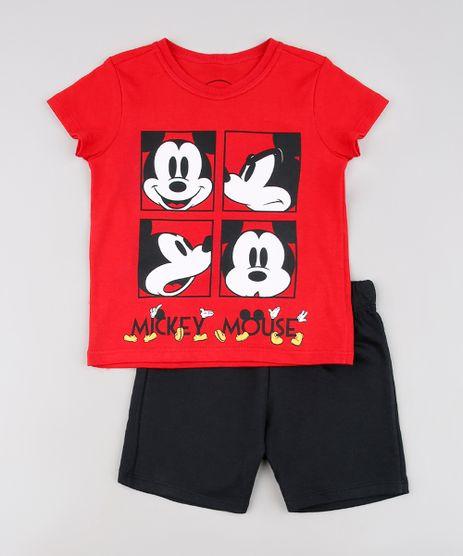 Conjunto-Infantil-Mickey-de-Camiseta-Manga-Curta-Vermelha---Bermuda-em-Moletom-Preta-9629766-Preto_1