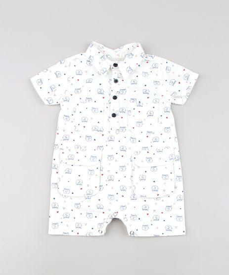 Macaquinho-Infantil-Estampado-de-Elefante-com-Bolsos-Manga-Curta-Off-White-9612852-Off_White_1