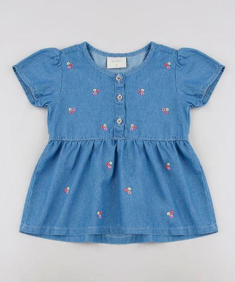 Blusa-Jeans-Infantil-com-Bordados-e-Botoes-Manga-Curta--Azul-Medio-9636035-Azul_Medio_1