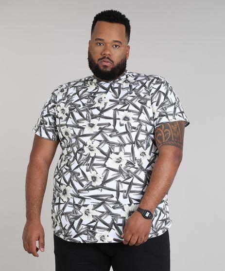Camiseta-Masculina-Plus-Size-Slim-Fit-Estampada-de-Folhagem-Manga-Curta-Gola-Careca-Branca-9697804-Branco_1