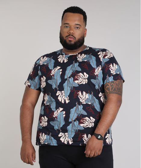 4822f6c45 Camiseta Masculina Plus Size Slim Fit Estampada de Folhagem Manga ...