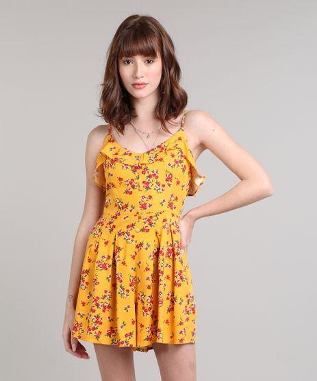 Macaquinho-Feminino-Estampado-Floral-com-Botoes-Alcas-Finas-Amarelo-9534426-Amarelo_1