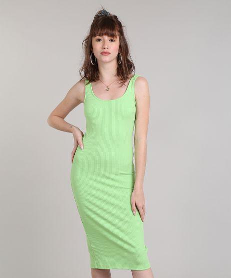 Vestido-Feminino-Midi-Canelado-com-Fenda-Alca-Larga-Verde-Neon-9445876-Verde_Neon_1