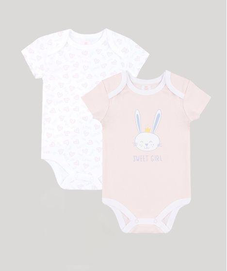 18c538d038cf Kit de 2 Bodies Infantis Estampados Manga Curta Multicor - cea