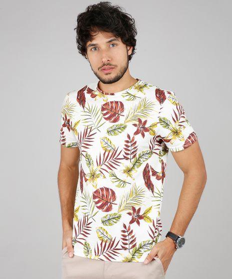 Camiseta-Masculina-Slim-Fit-Estampada-de-Folhagem-Manga-Curta-Gola-Careca-Off-White-9641662-Off_White_1