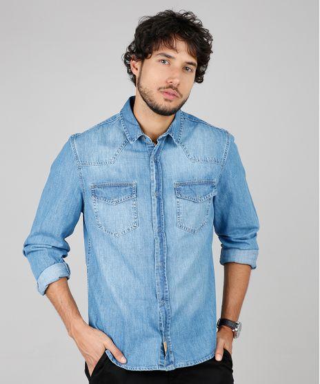 Camisa-Jeans-Masculina-Comfort-Fit-com-Bolsos-Manga-Longa--Azul-Medio-9600046-Azul_Medio_1