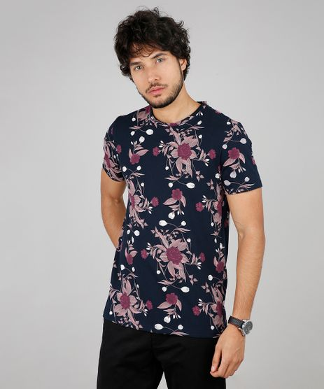 Camiseta-Masculina-Slim-Fit-Estampada-Floral-Manga-Curta-Gola-Careca-Azul-Marinho-9592917-Azul_Marinho_1