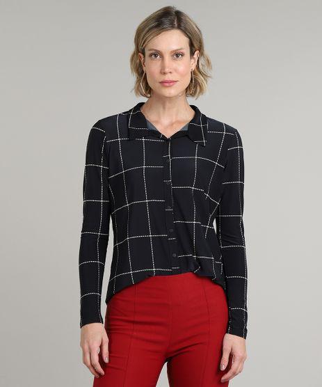 Camisa-Feminina-Estampada-Quadriculada-Manga-Longa-Preta-9616935-Preto_1