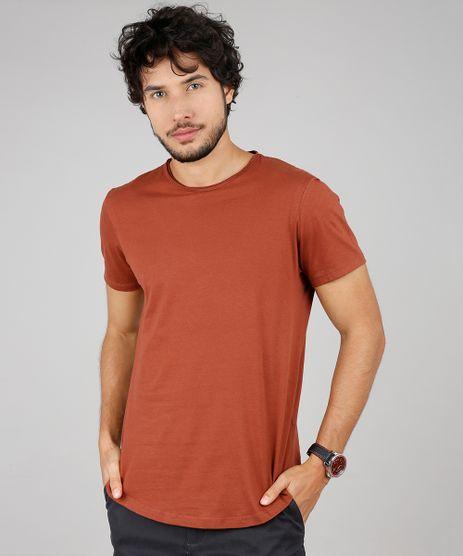 Camiseta-Masculina-Basica-Slim-Fit-Manga-Curta-Gola-Careca-Marrom-9607371-Marrom_1