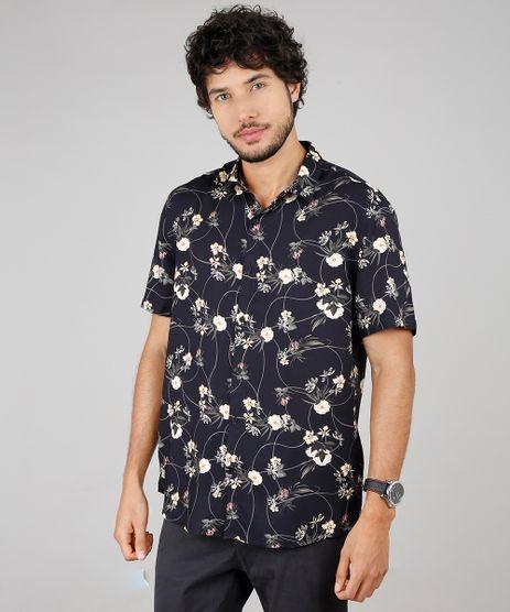 Camisa-Masculina-Estampada-Floral-Manga-Curta--Preto-9593480-Preto_1