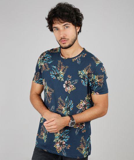 Camiseta-Masculina-Comfort-Fit-Estampada-de-Folhagens-Manga-Curta-Gola-Careca-Azul-Marinho-9607472-Azul_Marinho_1