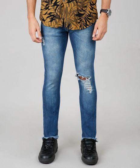 Calca-Jeans-Masculina-Skinny-com-Rasgos-Azul-Medio-9595651-Azul_Medio_1