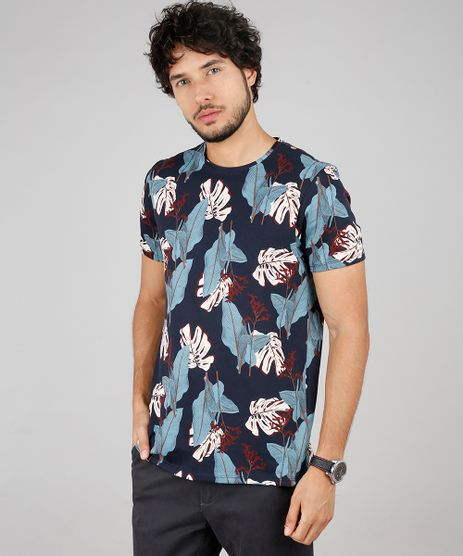 Camiseta-Masculina-Slim-Fit-Estampada-de-Folhagem-Manga-Curta-Gola-Careca-Azul-Marinho-9607370-Azul_Marinho_1