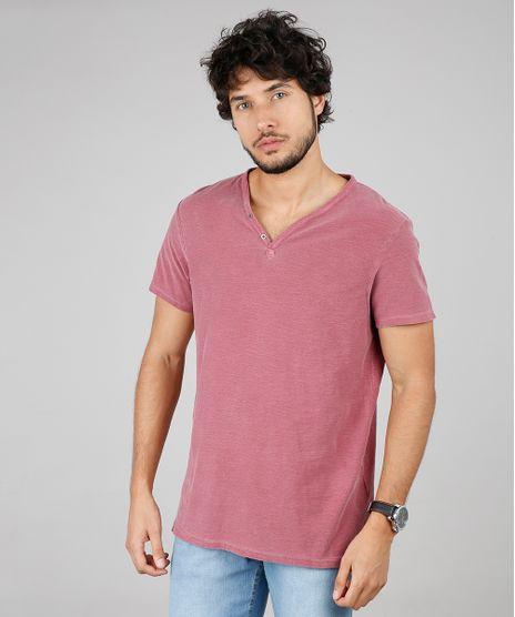 Camiseta-Masculina-Slim-Fit-com-Botoes-Manga-Curta-Gola-V-Vinho-9592918-Vinho_1