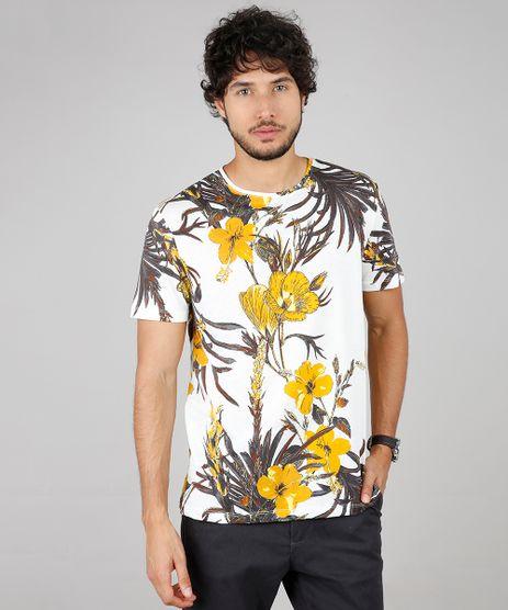 Camiseta-Masculina-Comfort-Fit-Estampada-Floral-Manga-Curta-Gola-Careca-Off-White-9607435-Off_White_1