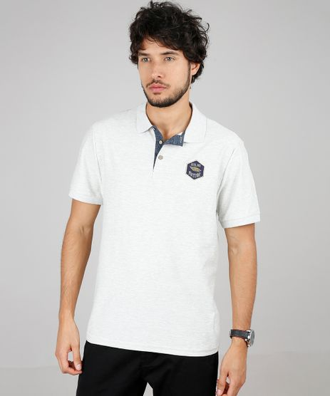 Polo-Masculina-com-Textura-e-Bordado-Manga-Curta-Cinza-Mescla-Claro-9595988-Cinza_Mescla_Claro_1