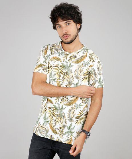 Camiseta-Masculina-Comfort-Fit-Estampada-de-Folhagens-Manga-Curta-Gola-Careca-Off-White-9607433-Off_White_1