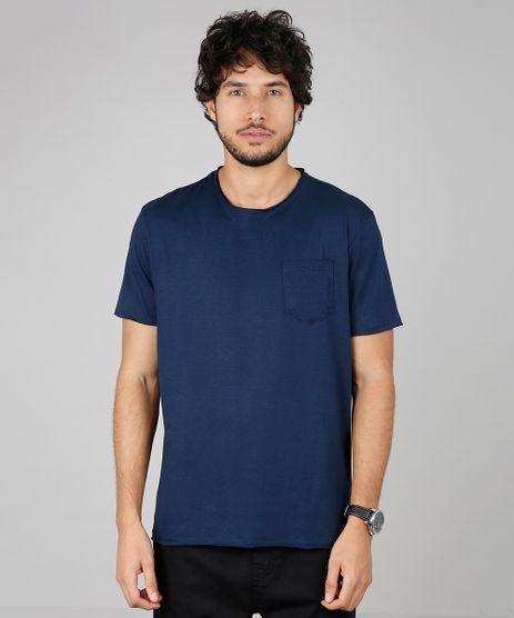 Camiseta-Masculina-Basica-com-Bolso-Manga-Curta-Gola-Careca-Azul-Marinho-9594430-Azul_Marinho_1
