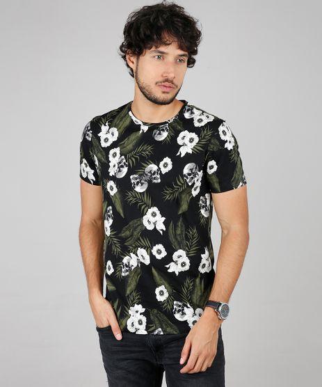 Camiseta-Masculina-Slim-Fit-Estampada-Floral-com-Caveira-Manga-Curta-Gola-Careca-Preta-9607369-Preto_1