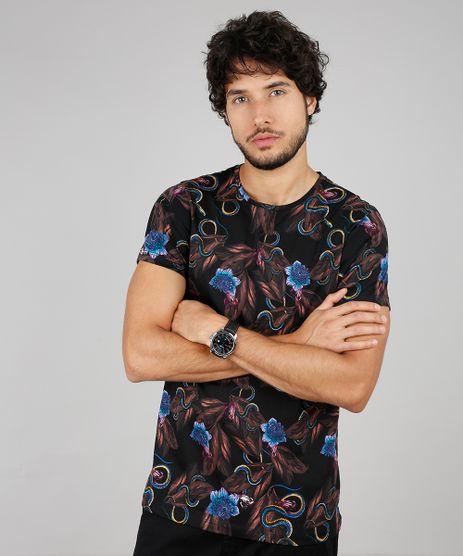 Camiseta-Masculina-Slim-Fit-Estampada-Floral-com-Cobra-Manga-Curta-Gola-Careca-Preto-9607367-Preto_1