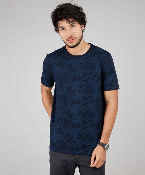 Camiseta-Masculina-Estampada-Floral-Manga-Curta-Gola-Careca-Azul-Marinho-9607432-Azul_Marinho_1