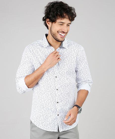 Camisa-Masculina-Slim-Estampada-Mini-Print-Floral-Manga-Longa--Branca-9516946-Branco_1