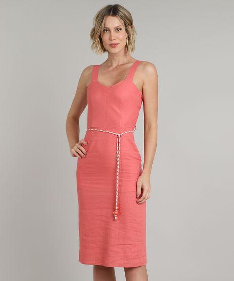 Vestido-Feminino-de-Linho-Midi-Alca-Media-com-Cinto-Coral-9541691-Coral_1