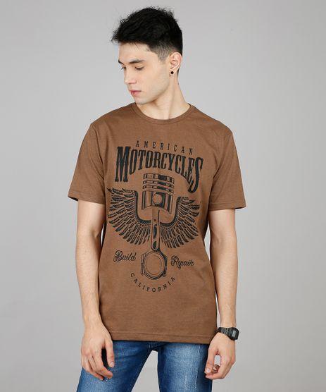 Camiseta-Masculina--American-Motorcycles--Manga-Curta-Gola-Careca-Marrom-9451871-Marrom_1