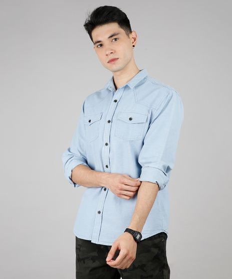 Camisa-Masculina-com-Bolsos-Manga-Longa-Azul-Claro-9527328-Azul_Claro_1