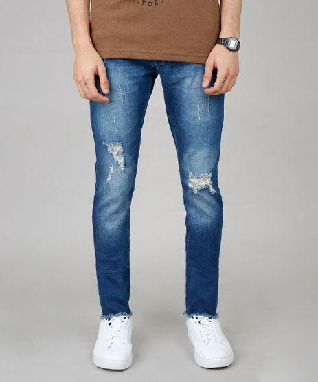 Calca-Jeans-Masculina-Skinny-com-Rasgos-e-Puidos-Azul-Medio-9600050-Azul_Medio_1