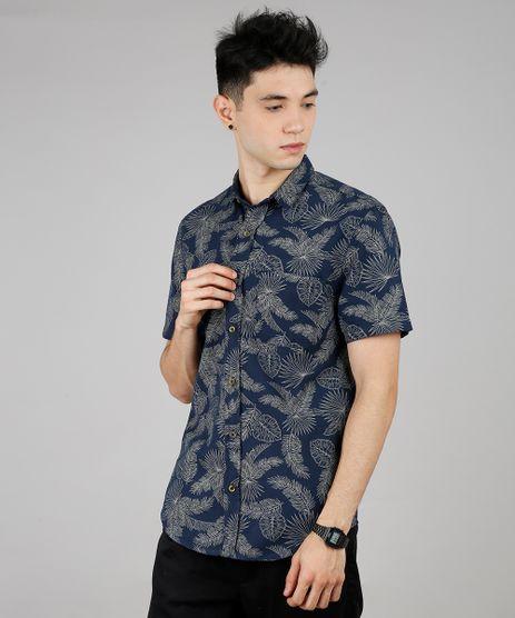 Camisa-Masculina-Estampada-de-Folhagem-Manga-Curta-Azul-Marinho-9527330-Azul_Marinho_1