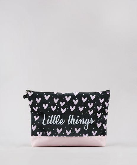 Necessaire-Feminina--Little-Things--Estampada-de-Coracoes-Preta-9643017-Preto_1