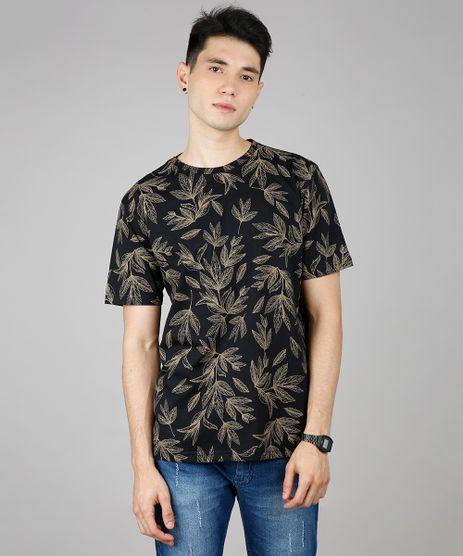 Camiseta-Masculina-Estampada-de-Folhagens-Manga-Curta-Gola-Careca-Preta-9607101-Preto_1