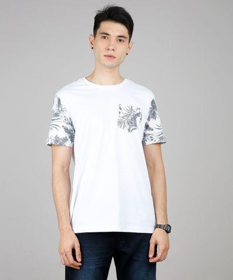 Camiseta-Masculina-com-Bolso-e-Estampa-de-Folhagens-Manga-Curta-Gola-Careca-Branca-9636467-Branco_1