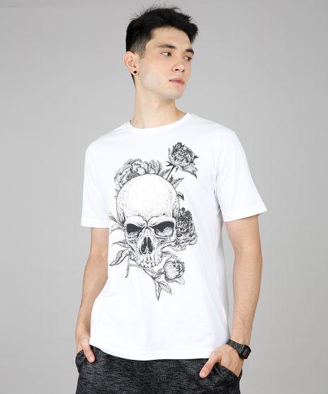 Camiseta-Masculina-Caveira-com-Flores-Manga-Curta-Gola-Careca-Off-White-9607130-Off_White_1