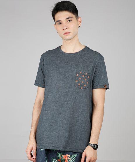 Camiseta-Masculina-com-Bolso-Estampado-de-Peixes-Manga-Curta-Gola-Careca-Cinza-Mescla-Escuro-9636216-Cinza_Mescla_Escuro_1