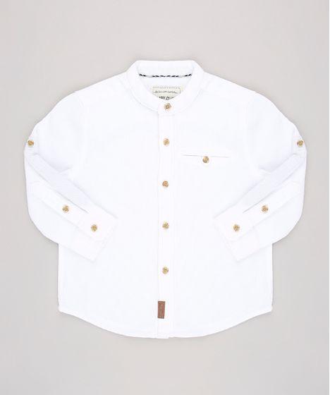 6271e240cbaeb Camisa Infantil Texturizada Gola Padre Manga Longa Off White - cea