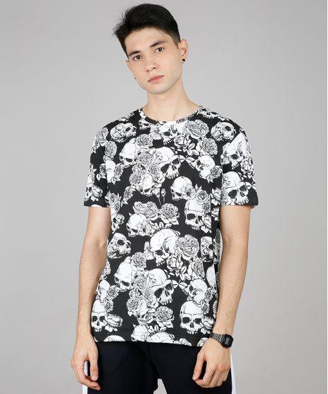 Camiseta-Masculina-Estampada-de-Caveira-Manga-Curta-Gola-Careca-Preta-9607297-Preto_1