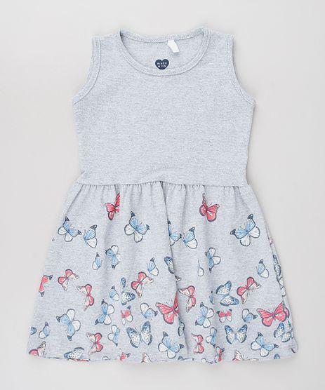 Vestido-Infantil-Estampado-Borboletas-Sem-Manga-Cinza-Mescla-9631443-Cinza_Mescla_1