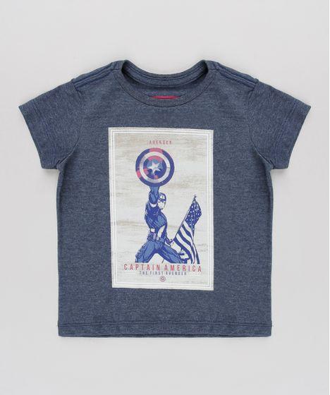 9cc77e18d113fa Camiseta Infantil Tal Pai Tal Filho Capitão América Manga Curta Azul Escuro